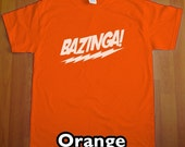 Bazinga The Big Bang Theory MENS T-Shirt (Orange- White Ink) S, M, L, XL, XXL