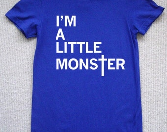I'm A Little Monster WOMENS T-Shirt lady gaga (Royal Blue- White Ink) S, M, L, XL American Apparel