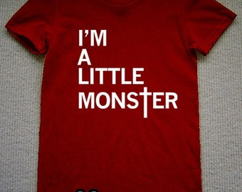 I'm A Little Monster WOMENS T-Shirt lady gaga (Maroon- White Ink) S, M, L, XL American Apparel