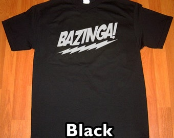 Bazinga The Big Bang Theory MENS T-Shirt (Black- White Ink) S, M, L, XL, XXL