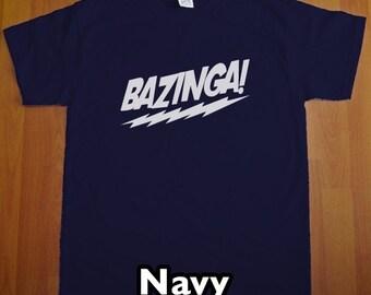 Bazinga The Big Bang Theory MENS T-Shirt (Navy Blue- White Ink) S, M, L, XL, XXL