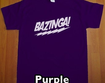 Bazinga The Big Bang Theory MENS T-Shirt (Purple- White Ink) S, M, L, XL, XXL