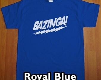 Bazinga The Big Bang Theory MENS T-Shirt (Royal Blue- White Ink) S, M, L, XL, XXL