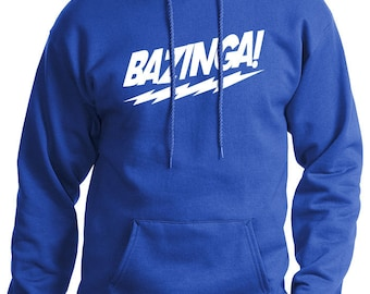 Bazinga The Big Bang Theory MENS Hoodie (Royal Blue- White Ink) S, M, L, XL, XXL