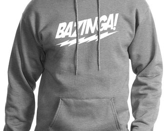 Bazinga The Big Bang Theory MENS Hoodie (Heather Grey- White Ink) S, M, L, XL, XXL