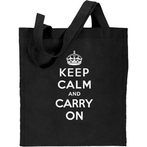 Keep Calm and Carry On Re-useable Cotton Canvas Tote Bag (black)
