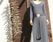 Wrap dress maxi length dress -Tibetan dress-Womens dress winter dress-fall dress-wrap dress in grey-Long sleeves dress-custom dress