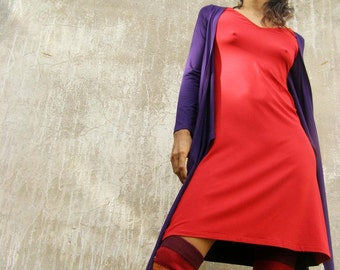 Convertible dress long sleeves  -Winter dress-Wrap dress-Women's wrap dress in red and purple- knee length-Mix&match your colors