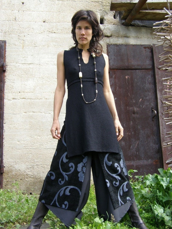 Womens clothing-Women's chic skirt-Art to wear -The  Art  chic slit skirt-layer womens skirt-Elegant womens skirt-Eveni...