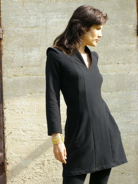 Cozy black tunic dress-Zina's black  tunic-Womens sweater-long sleeved shirt/tunic/dress