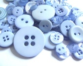 100 Mixed Buttons - Shades of Blue, Light Blue, Baby Blue, Pastel Blue, Faint Blue, Periwinkle for Sewing, Jewelry, Mixed Media Crafts