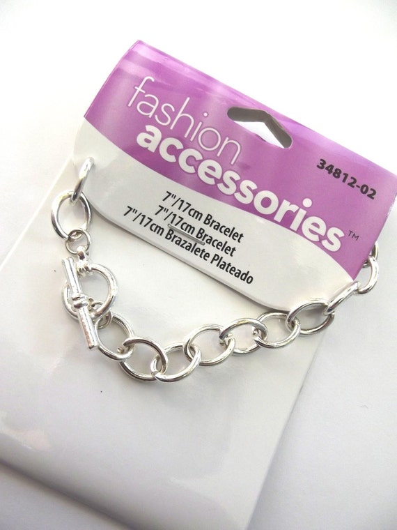Silver Bracelet, Fashion Accessories 7 Inch Silver Metal Chain Bracelet with Toggle Clasp for Jewelry Making, Bracelet