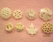 Vintage Buttons Lot of 8 decorative single white buttons SALE