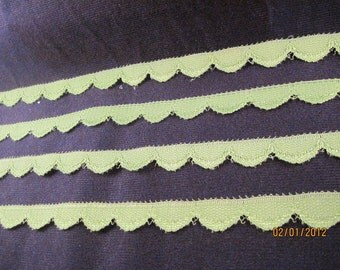 """Vintage Flat Lace Olive Green 5 yards x 5/8"""""""