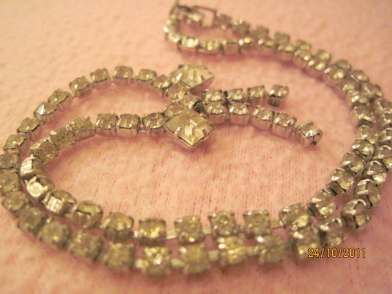 Vintage Rhinestone Necklace with a Bow SALE