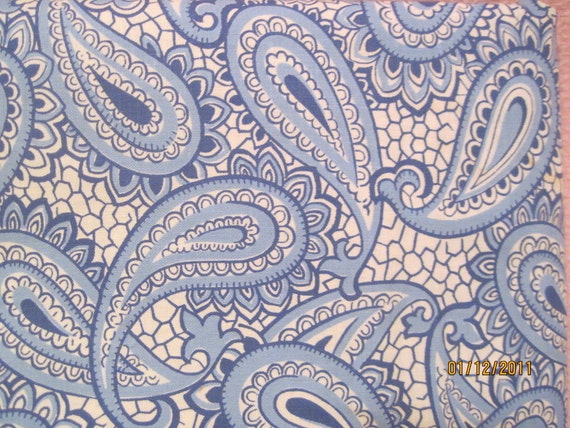 Vintage Fabric 1950s cotton print with a blue paisley print  1 yard x 36 inches wide SALE