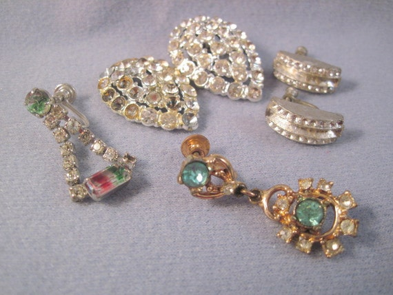 Vintage Rhinestone Earring Destash Lot SALE