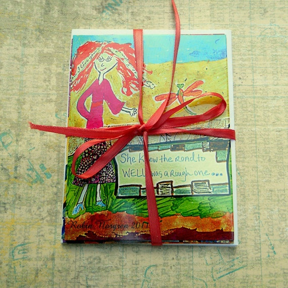 Notecards with Envelopes Set of 5 heart filled funky Eclectic Free shipping