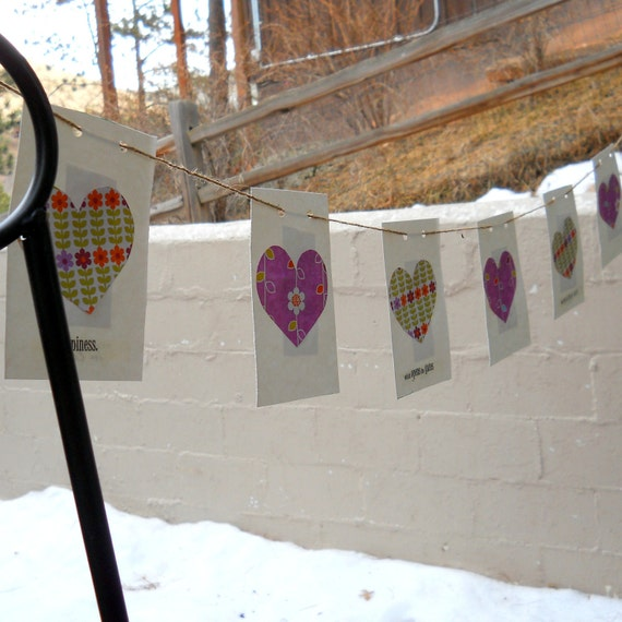 Bunting Banner Hearts 5 foot Reversible Hearts and Flowers Affirmation Banner Love Wedding Shower Girls Room Hippie Retro Funky