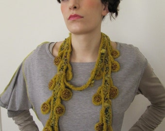 """SALE ! - """"Little Sunflower"""" Crocheted Necklace Knitted Jewelry One of a kind"""