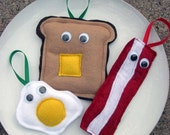 Mr. Bacon, Mr. Fried Egg and Mr. Toast Ornaments