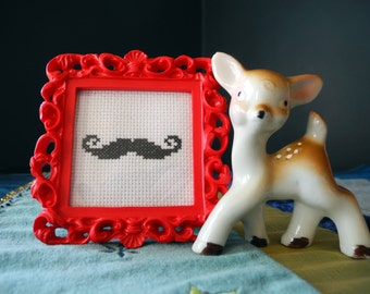Handlebar Moustache in Red Frame