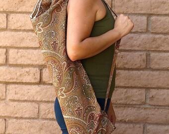 CARAMEL PAISLEY Yoga Mat Bag Yoga Mat Tote Yoga Bag Yoga Tote Yoga Sling Yoga Sac Yoga Sack, Handmade