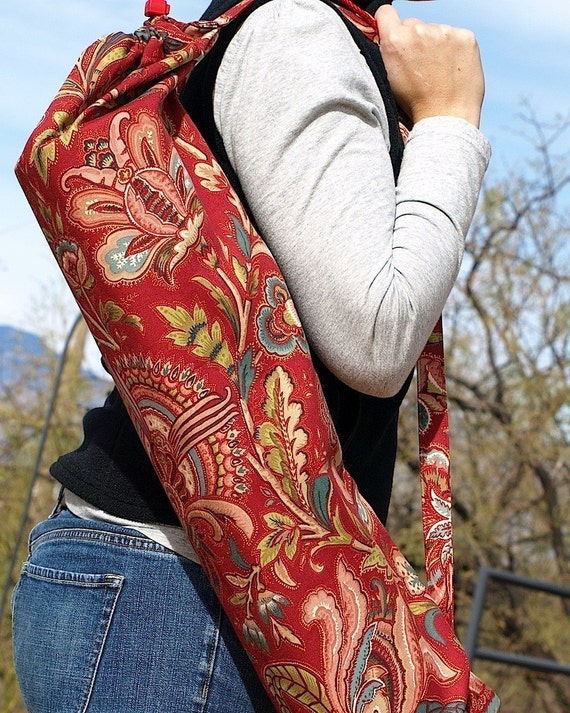 Handmade Yoga Mat Bag TROPICS Tropical Red