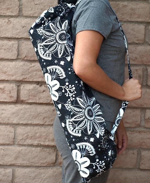 Handmade Yoga Mat Bag Midnight Paradise Black and White