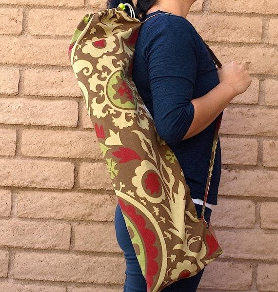yoga mat bag IMAGINATION in brown, neutral and red yoga bag