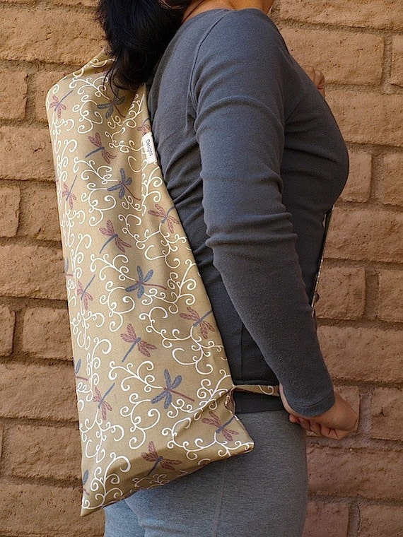 Yoga Mat Bag DRAGONFLY'S swirls of vine and serene design