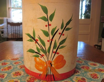 Early Yelloware Crock Cookie Jar with Cold Paint