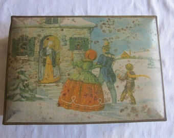 Antique Decorated Nabisco Cookie Tin for Storage