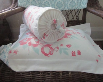 Boudoir Sham and Bolster Handmade from Vintage Tablecloth