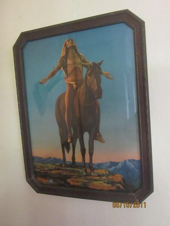 American Indian Praying Vintage Art Print in Original Frame