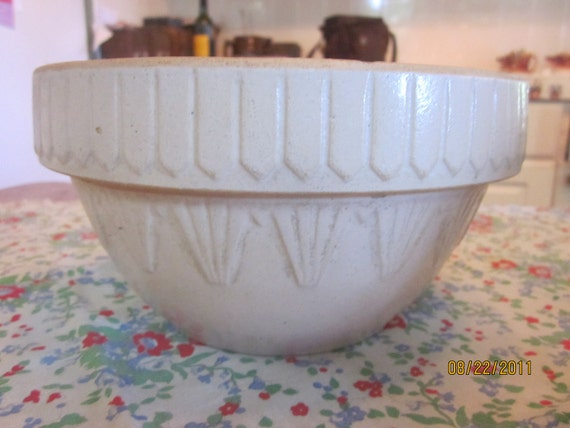 Antique Stoneware Picket Fence Mixing Bowl
