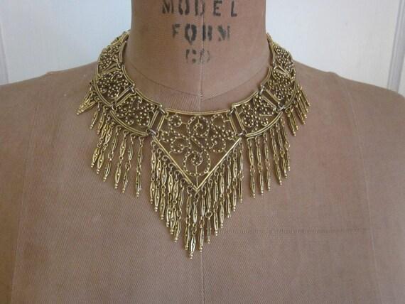 WWII Era Chevron Shaped Linked Panel Necklace