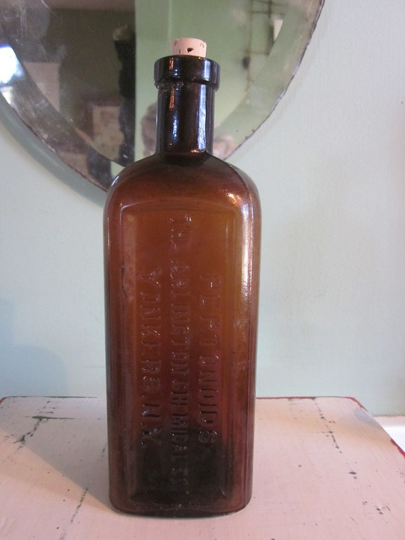 Antique Peptonoids Amber Glass Chemist Bottle for Apothecary