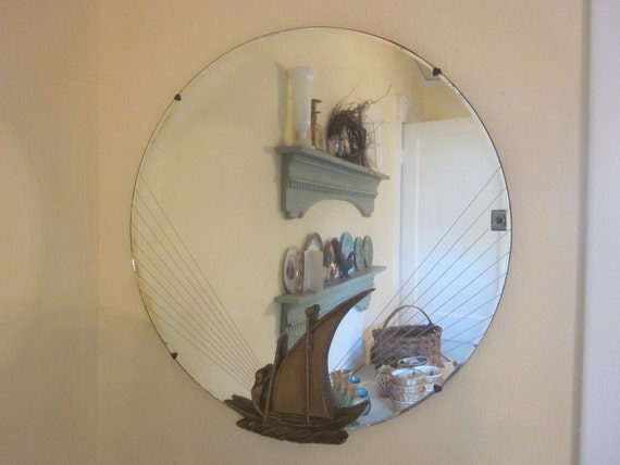 Antique Art Deco English Style Mirror with Maritime Decor