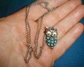 Vintage Adorable Googly Eyes Owl Pendant Necklace