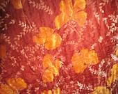 Vintage 1920s Exquisite Silk Velvet Autumn Botanical Quilted Coverlet
