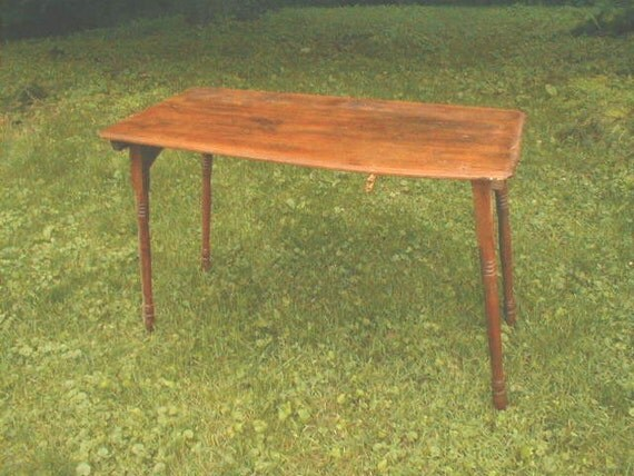 Vintage 1920s 30s Wooden Folding Sewing Table With By