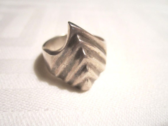 Vintage Mid Century Modern Mexican Sterling Silver Ring Sz 12