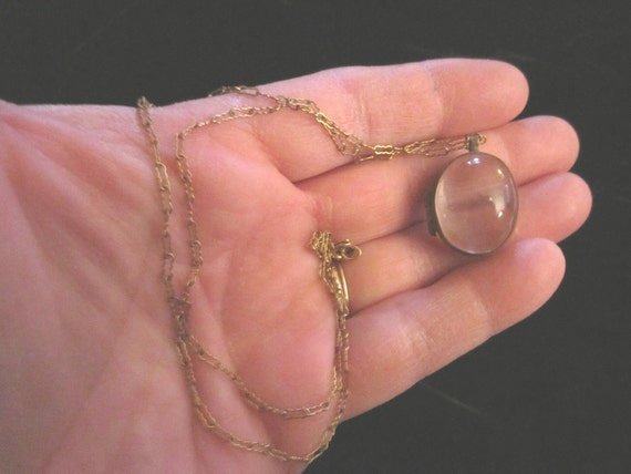 Antique Fabulous Victorian Crystal Locket with Gold Fill Chain