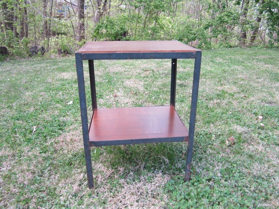 Reserved for Melissa...Vintage Industrial Sturdy Iron Two Tiered Shop Table with Wood Shelves
