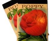 Poppy Vintage Seed Packet POCKET NOTEPAD