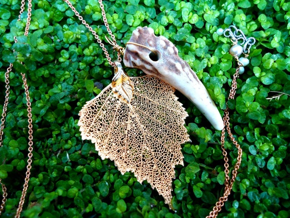 on the forest floor. gold. leaf. antler. layering. necklace.