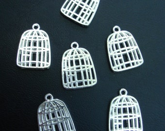 10 pcs - Silver Rhodium Plated Bird Cage Connector, Link, Drop, Pendant