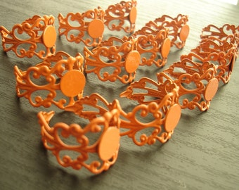 50% OFF and FREE Cabochons - 20 Pcs Orange Brass spray paint filigree adjustable ring setting ring blanks