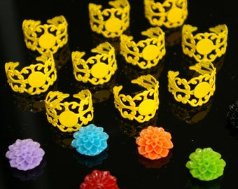 50% OFF and FREE Cabochons - 20 pcs Yellow Brass spray paint filigree adjustable ring settings